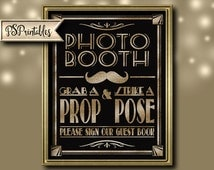 Printable Photo Booth-please sign our guest book -Art Deco Great Gatsby theme - instant download digital file - DIY - black and glitter gold