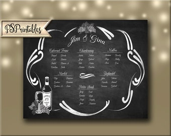 Vineyard Wedding Seating chart - perfect for winery weddings - chalkboard style
