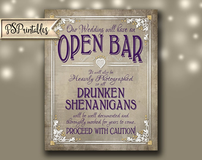 Open Bar Printable Wedding Sign - Drunken Shenanigans - DIY - Instant Download - 4 sizes - Old Lace Collection
