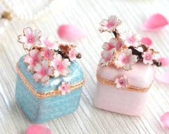 Beautiful Sprig cherry tree mini Jewelry Box,jewelry case,present,ring case,white blue SAKURA, With a beautiful gift box