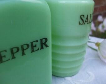 Vintage Jadeite/Jadite Salt and Pepper Shaker with Aluminum Lids