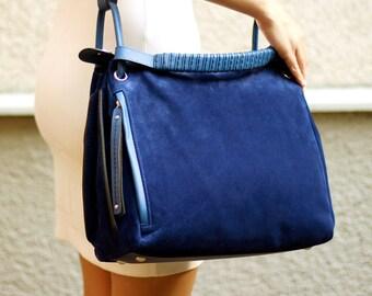 Free shipping! Blue bag, blue leather bag, blue suede bag, blue tote, suede tote, handbag, everyday bag, business bag, tote bag