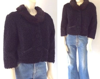 SO JACKIE Vintage 50s 60s Black Persian Lamb Cropped Jacket with Fur Collar