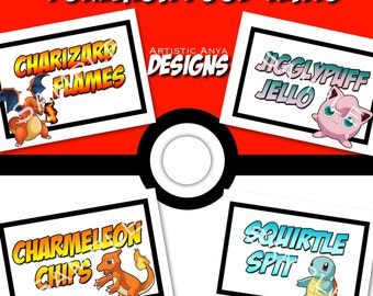 Pokemon Food Tents Printable - Instant Download - Digital File - Pokemon Go Party Food Labels Set of 4
