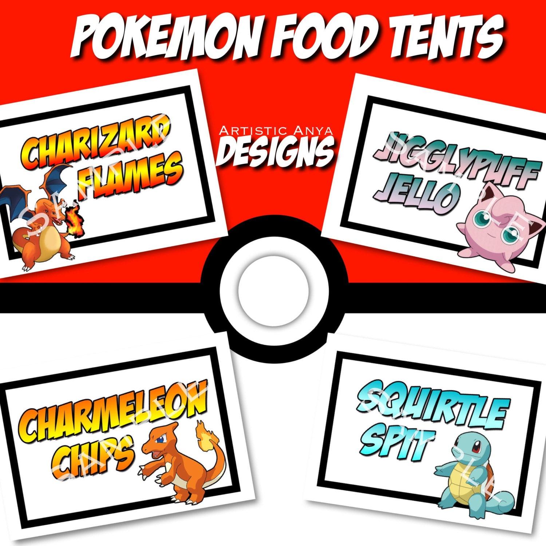 Pokemon Food Tents Printable Instant Download Digital File