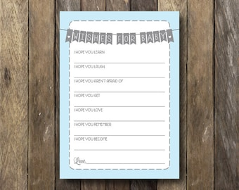 Wishes for Baby Printable - Blue Baby Shower - Wishes for Baby Boy - Baby Shower Printables - Instant Download - Wishes for Baby Card