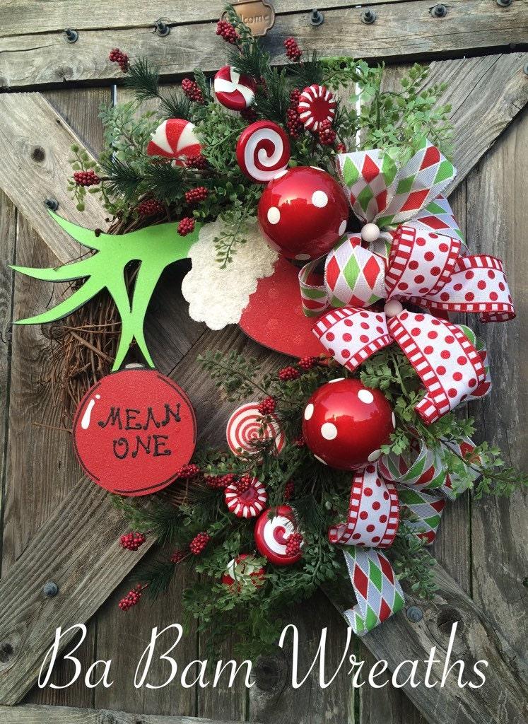 Christmas Decor Grinch : Christmas wreath decor door holiday