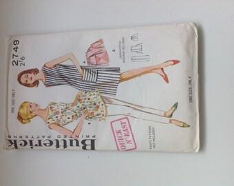 Butterick printed paper pattern 2749. One size. dress, tunic, apron.