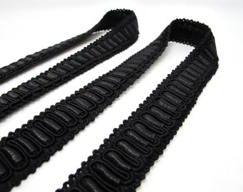 2 Yards 7/8 Inch Black Gimp Trim|Braided Trim|Geometric Trim|Vintage Sewing Supplies|Quilting|Embellishment|Doll Trim|Headband Trim