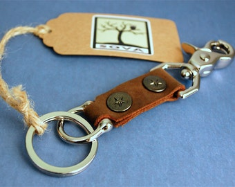 Handmade Leather Key Chain with chrome hardware and key ring, swivel trigger snap, key fob