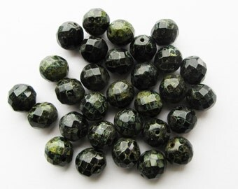 Large Czech Fire Polished Faceted Glass Beads Black Picasso 12mm Rustic