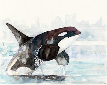 "Orca Painting - Print from Original Watercolor Painting, ""Icy Waters"", Beach Decor, Whale Art, Orca Art, Whale Print"