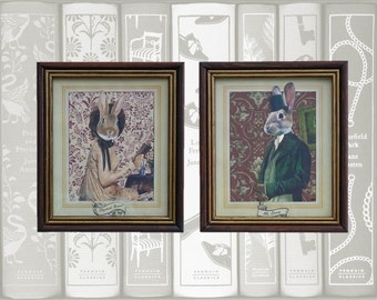 "Collage Art, Original Mixed Media Artwork, Pride and Prejudice, Mr. Darcy and Elizabeth Bennet Bunny Portrait Set, Reclaimed Frame (6"" x 8"")"