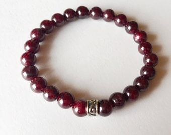 Garnet 8mm Bracelet, Power Bracelet Beaded Bracelet Gemstone Bracelet Intention Jewelry Yoga Bracelet Mala Beads Jewelry Meditation