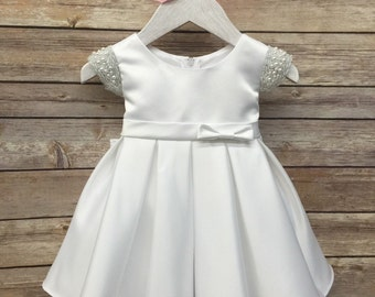 Satin Baby Dress with Pearl Sleeves