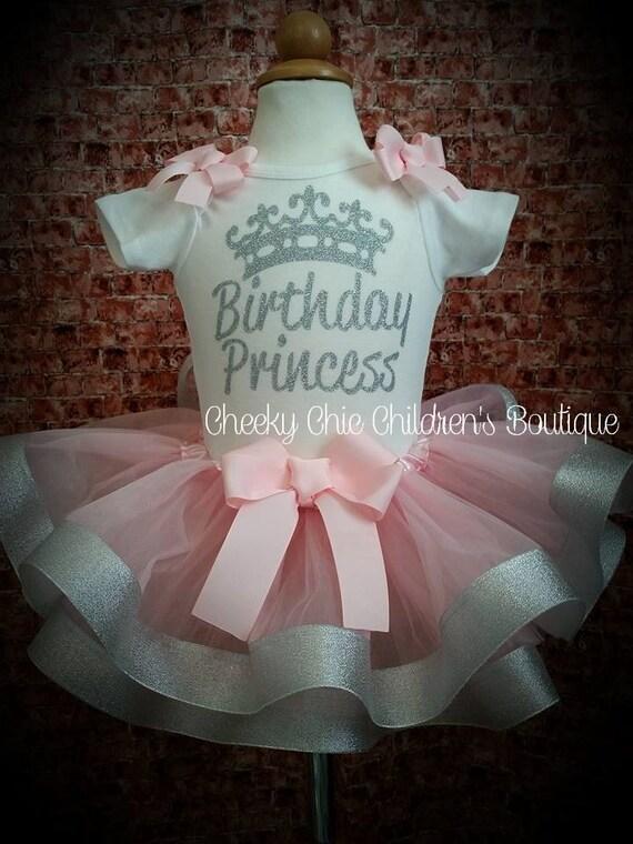 PINK AND SILVER Birthday Princess Crawler & Tutu Set