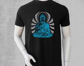 men Tshirt  TIBETAN BOUDDHA vinyl glow colours print and reflective -neon print, psy clothing - trance- festival- blacklight active
