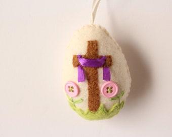 Felt Easter Ornaments, Resurrection Easter Ornament, Felt Easter Egg, Cross Egg Ornament, Felt Button Ornament, Christian Easter Ornament