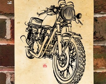 KillerBeeMoto:  Limited Prints Japanese Engineered Cafe Racer Front View Poster (Ink Style Illustration) 1 of 50