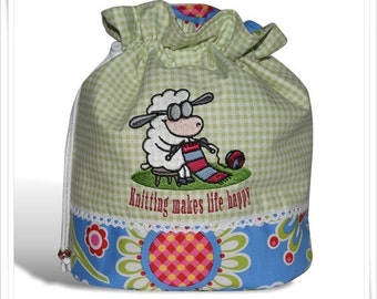 "Knitting Bag ""Knitting makes life happy"""