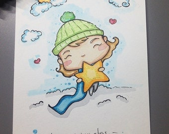 You are my star A6 original illustration