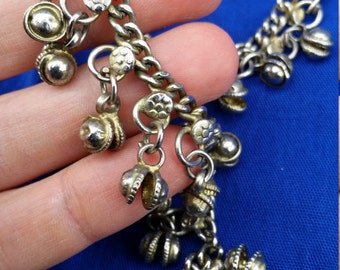 Silver Indian Anklet with Floral Motif and Bells