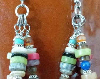 Multi gemstone heish Earring