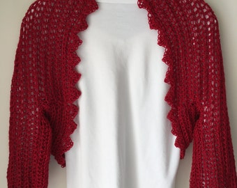 Red Shrug With Versatile Sleeves