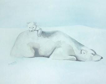 Watercolor Print of Polar Bear and Baby