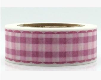 Pink Grid Washi Tape -- 15mm x 10M