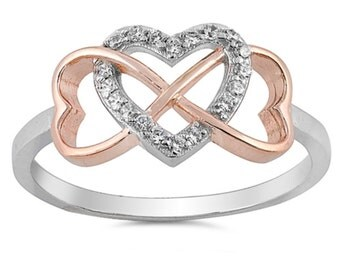 Two Tone 2 Tone Heart Ring Promise Ring Infinity Ring Infinity Heart Ring Rose gold Solid 925 Sterling Silver Round Clear Diamond CZ