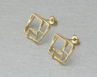 Square Post Earring. Matte Gold Plated. 925 Sterling Silver Post. 10 Pieces / C1182G-010