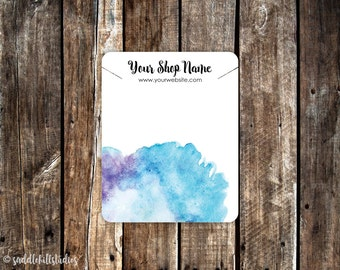 Necklace Cards | Custom Necklace Display Cards | Jewelry Tags | Jewelry Cards | Blue Watercolor | P0120-2