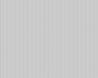 Cloud Gray Mini Stripe Organic Fabric - By The Yard -  Boy / Girl / Neutral