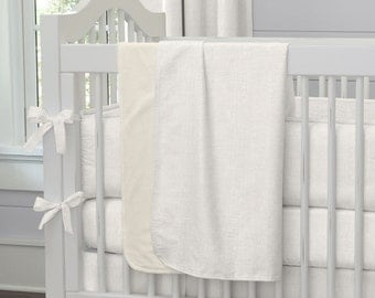 Gender Neutral Baby Crib Bedding / Girl Baby Bedding / Boy Crib Bedding: Ivory Linen Crib Blanket by Carousel Designs
