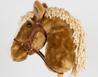 Snowy Mountain Ponies - Palomino Stick Horse with Leather Bridle - Stick Pony - Hobby Horse