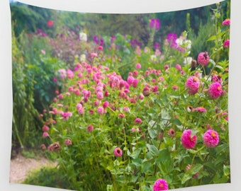 Zinnia Flowers Garden Wall Tapestry, Pink Zinnias Wall Art, Photo Tapestry, France, Happy, Dorm