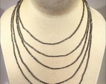 SALE Antique Cut Steel Long Gaurd Chain Necklace, 86 inches, c. 1870