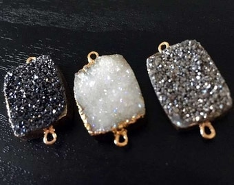 SALE Rectangle Druzy Connector Mystic Druzy Link Charm Titanium Double Bail Connector Pendant with Gold Electroplated Edges (S8W2-03)