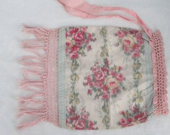 antique taffeta drawstring pouch