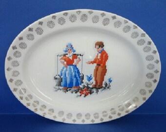 Vintage China Serving Platter - Dutch Figures - Marked Century by Salem