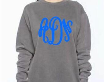 Monogrammed Comfort Colors Sweatshirt Personalized Comfort Colors Sweatshirt