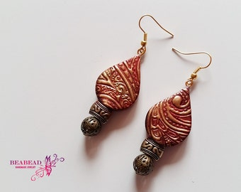 Polymer clay jewelry, polymer clay earrings, 2 in 1 earrings, handmade jewelry