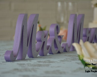 Purple Mr & Mrs Wedding Signs, Mr and Mrs Wood Wedding Decoration