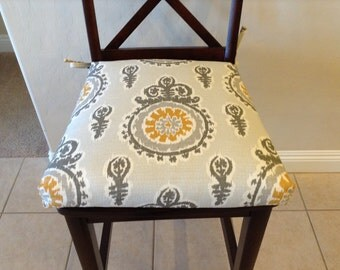 Modern ivory grey yellow Premier Prints Michelle Nova Birch Fabric seat cushion, kitchen chair pad, counter bar stool seat cover, washable