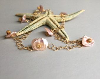 Keishi pearl anklet. Pearl anklet. Pearl and gold filled anklet. Keshi pearl anklet. Rose pink Keishi keshi pearl anklet