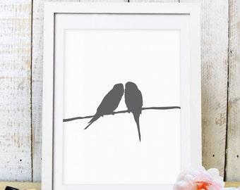 30% OFF SALE Grey Sparrow Wall Art, Bird Print, Sparrow Print, Bird Wall Art, Printable Art, Home Decor, Silhouette Print, Nursery Print