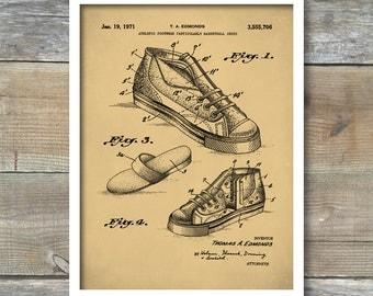 Patent Print, Basketball Shoe 1971 Patent, Basketball Poster, Basketball Blueprint, Basketball Print, Sports Poster, Sports Print, P418