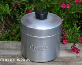 Vintage Aluminum Grease Canister with Strainer