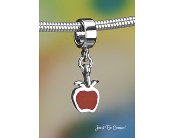 Sterling Silver Red Apple Charm or European Style Charm Bracelet .925